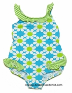 Florence Eiseman Baby / Toddler Girls Turquoise / Lime Daisy Print One Piece Bathing Suit