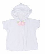 Florence Eiseman Baby / Toddler Girls White Knit Terry Cover Up with Pink Flower & Hood