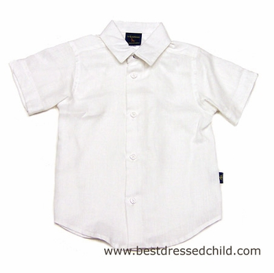Florence Eiseman Boys Dressy White Linen Camp Shirts - Perfect for Beach Portraits / Weddings