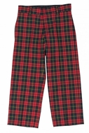 Florence Eiseman Boys Red / Green / Navy Blue Holiday Plaid Fly Front Pants