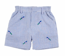 Florence Eiseman Boys Royal Blue Seersucker Shorts with Embroidered Baseballs