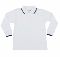 Florence Eiseman Boys White Cotton Polo Shirt - Navy Blue Tipping - Long Sleeves