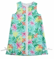Florence Eiseman Girls Aqua Palm Beach Floral Shift Dress - Lace Trim
