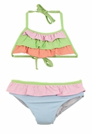 Florence Eiseman Girls Blue / Pink / Green Striped Ruffle Two Piece Bathing Suit