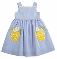Florence Eiseman Girls Blue Seersucker Sun Dress with Yellow Daisy Pockets
