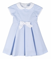 Florence Eiseman Girls Blue Striped Ottoman Dress with White Bow