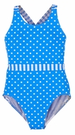 Florence Eiseman Girls Blue / White Dots One Piece Bathing Suit