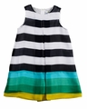 Florence Eiseman Girls Blue / White / Green Stripe Chiffon Dress
