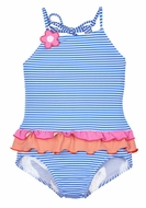 Florence Eiseman Girls Blue / White Striped Ruffle Swimsuit