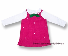 Florence Eiseman Girls Bright Pink Corduroy Jumper with Strawberry Blouse