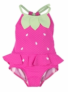 Florence Eiseman Girls Bright Pink Dot Strawberry Swimsuit