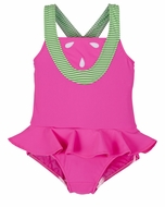 Florence Eiseman Girls Bright Pink Novelty Watermelon Skirted Swimsuit
