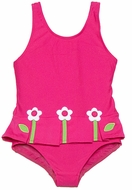 Florence Eiseman Girls Bright Pink Pleated Skirt Swimsuit with Flowers