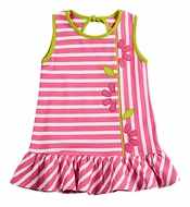 Florence Eiseman Girls Bright Pink Striped Knit Dress with Flowers
