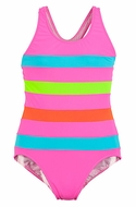 Florence Eiseman Girls Bright Pink / Turquoise / Lime Color Chart Y-Back Swimsuit