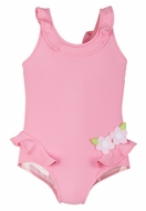Florence Eiseman Girls Bubblegum Pink Ruffle Swimsuit with Back Bow