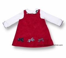 Florence Eiseman Girls Christmas Red Corduroy Jumper Dress with Plaid Bows and Blouse