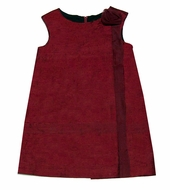 Florence Eiseman Girls Christmas Red Dupioni Silk Sheath Dress with Rose