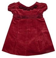 Florence Eiseman Girls Christmas Red Velvet Dress with Silk Sash and Flowers