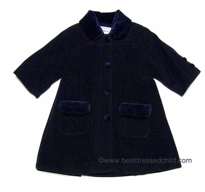 Eiseman Girls Classic Navy Blue Wool / Cashmere Dress Coat with ...