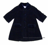 Florence Eiseman Girls Classic Navy Blue Wool / Cashmere Dress Coat with Raglan Sleeve and Velvet Trim