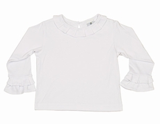 Florence Eiseman Girls Dressy White Blouse - Fluted Cuffs & Collar