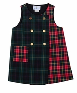 Florence Eiseman Girls Green / Red / Navy Blue Mixed Holiday Plaid Jumper Dress