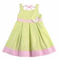 Florence Eiseman Girls Green Seersucker / Pink Butterfly Sun Dress