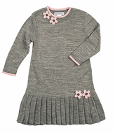 Florence Eiseman Girls Heather Gray / Pink Pleated Sweater Knit Dress