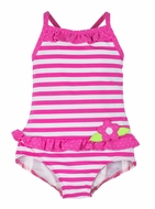 Florence Eiseman Girls Hot Pink Striped Tank Swimsuit with Ruffle & Flower