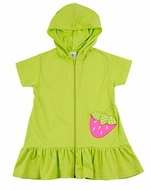 Florence Eiseman Girls Lime Green Hooded Cover Up with Pink Strawberry Pocket
