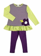Florence Eiseman Girls Lime Green / Purple Striped Flower Tunic with Leggings