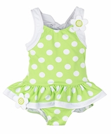 Florence Eiseman Girls Lime Green / White Dots Skirted One Piece Swimsuit