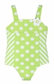 Florence Eiseman Girls Lime Green / White Dots & Stripes One Piece Bathing Suit