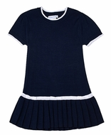 Florence Eiseman Girls Miss Manners Navy Blue Sweater Dress - Little White Bows