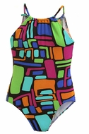 Florence Eiseman Girls Multi Colors Abstract Print Halter Swimsuit