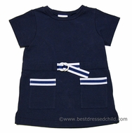 Florence Eiseman Girls Nautical Navy Blue Knit Cover Up Dress with Ribbon Trim
