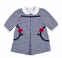 Florence Eiseman Girls Navy Blue Check Dress with Collar
