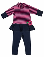 Florence Eiseman Girls Navy Blue / Fuchsia Pink Striped Tunic with Leggings