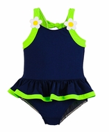Florence Eiseman Girls Navy Blue / Lime Green Daisy Shoulder Swimsuit