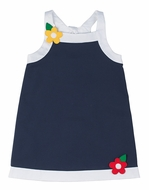 Florence Eiseman Girls Navy Blue Pique Dress with Back Tie