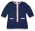 Florence Eiseman Girls Navy Blue / Pink Pleated Sweater Dress