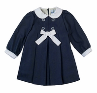 Florence Eiseman Girls Navy Blue Pleated Dress with White Bow