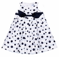 Florence Eiseman Girls Navy Blue Polka Dots Sleeveless Dress with Bow Belt
