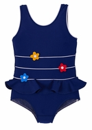 Florence Eiseman Girls Navy Blue Primary Colors Flowers One Piece Swimsuit