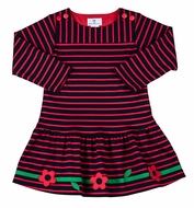 Florence Eiseman Girls Navy Blue / Red Striped Knit Dress
