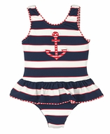 Florence Eiseman Girls Navy Blue Regatta Stripes Ruffle Swimsuit with Red Anchor