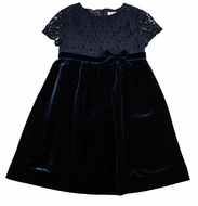 Florence Eiseman Girls Navy Blue Stretch Velvet Dress with Lace Overlay Bodice