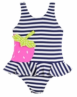 Florence Eiseman Girls Navy Blue Stripe / Pink Strawberry Festival Ruffle Swimsuit