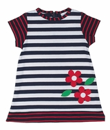 Florence Eiseman Girls Navy Blue Striped Knit Red Flowers Dress